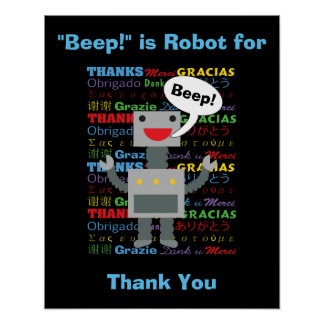 Thank You Robot Personalize Poster