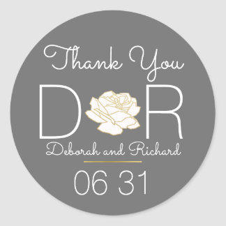 thank you . rose flower . gray wedding favor classic round sticker