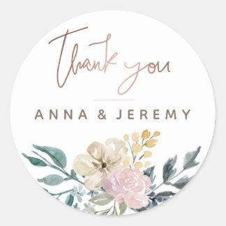 Thank you Rose Gold Floral Wedding Sticker