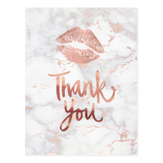 thank you rose gold lipstick kiss postcard