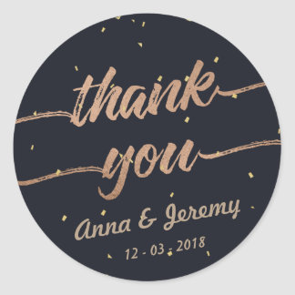 Thank you Rose Gold Navy Blue Wedding Sticker