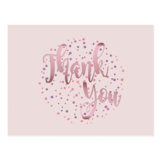 Thank You  Rose Gold Pink Glitter Clean Postcard