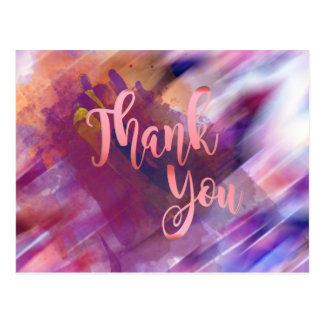 Thank You  Rose Gold Pink Watercolor Glitter Postcard