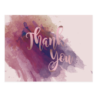 Thank You  Rose Gold Pink Watercolor Postcard
