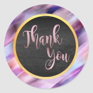 Thank You Rose Gold Pink Wedding Glow Classic Round Sticker