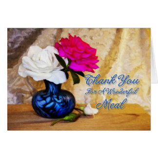 Thank you roses for great meal greeting card