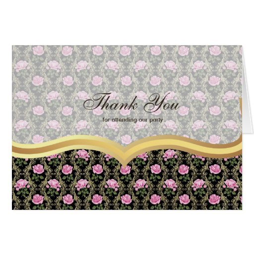 Thank You Roses on Antique gold Card