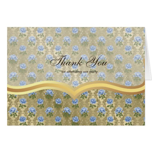 Thank You Roses on Antique gold Greeting Cards