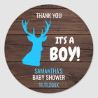Thank You Rustic Buck Deer Boy Theme Baby Shower Classic Round Sticker