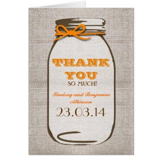 Thank You Rustic Burlap Mason Jar Card