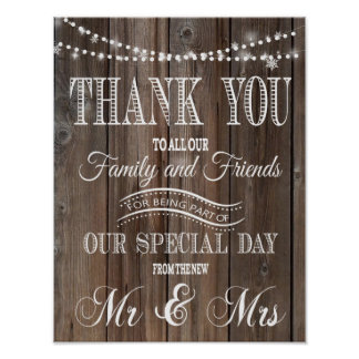 THANK YOU RUSTIC WEDDING POSTER PRINT