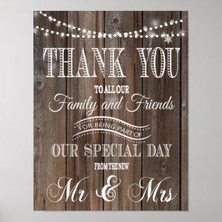 THANK YOU RUSTIC WEDDING POSTER PRINT