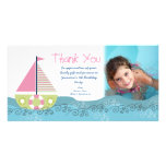 Thank You Sail Boat Birthday Party Photocard Customized Photo Card