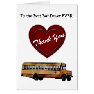 Thank You!-School Bus Driver/Red Heart+Personalize Card