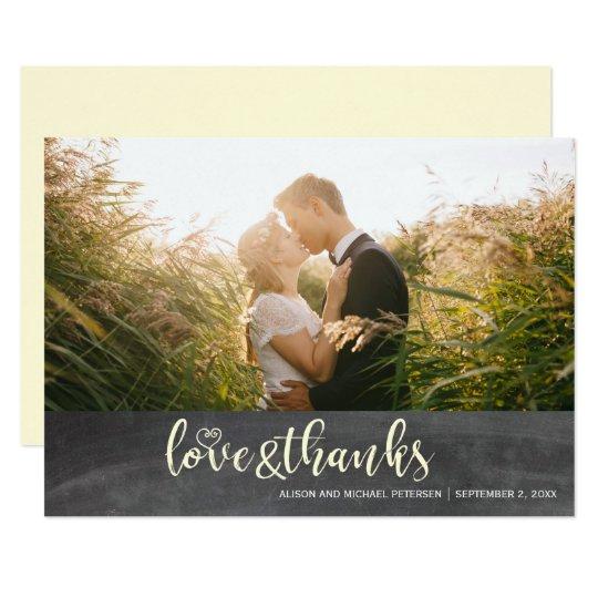 Thank you script chalkboard rustic wedding photo card