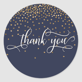 Thank You Script, Gold Confetti on Midnight Blue Classic Round Sticker