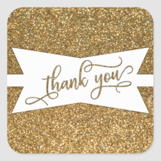 Thank You Script, Gold Glitter & Angular Badge Square Sticker