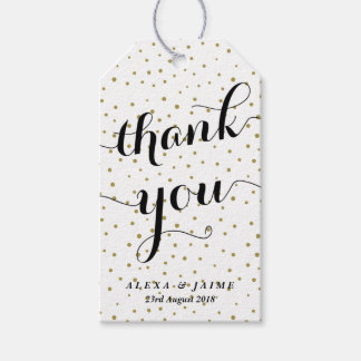 Thank You Script | Gold Polka Dots Pattern Pack Of Gift Tags
