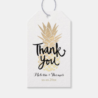thank you script on FAUX gold foil pineapple Pack Of Gift Tags