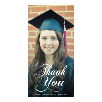 Thank You Script Overlay Graduation Photo Cards