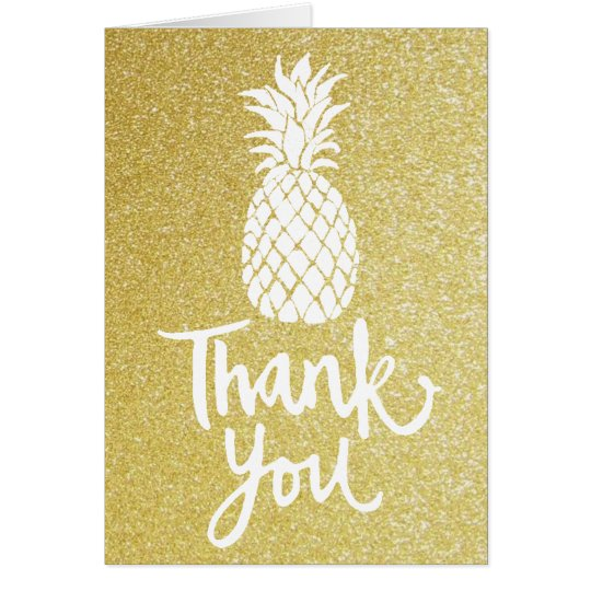 thank you script pineapple on gold glitter card