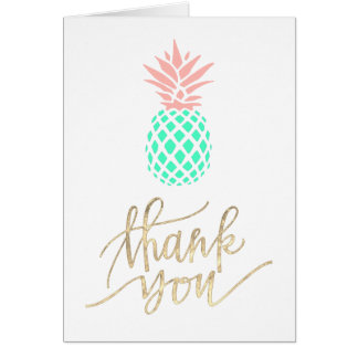 thank you script pink teal pineapple card