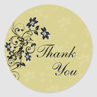 Thank You Seal - Black and Gold Floral Round Sticker