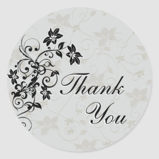 Thank You Seal - Black and Silver Floral Round Sticker