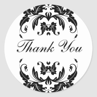 Thank You Seal - Black and White Damask Wedding Round Sticker
