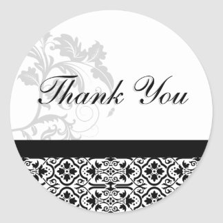 Thank You Seal - Black and White Damask Wedding Round Sticker