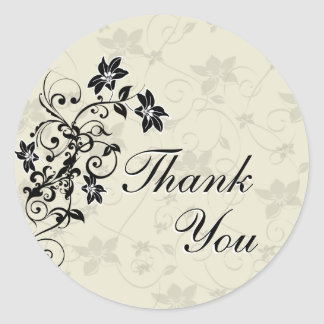 Thank You Seal - Black and White Floral Round Sticker