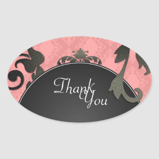Thank You Seal - Black & Coral Damask Wedding Oval Sticker