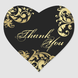 Thank You Seal - Black & Gold Floral Swirl Wedding Heart Sticker