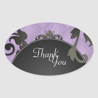 Thank You Seal - Black & Purple Damask Wedding Oval Sticker