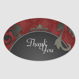 Thank You Seal - Black & Red Damask Wedding Oval Sticker
