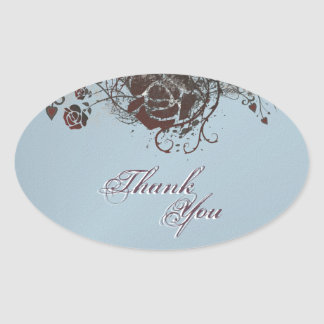 Thank You Seal Black &  Red Rose Floral Wedding Oval Sticker