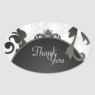 Thank You Seal - Black & White Damask Wedding Oval Sticker