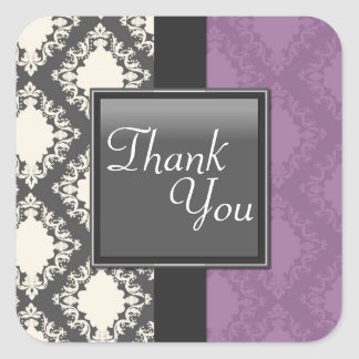 Thank You Seal - Black & White Damask Wedding Square Sticker