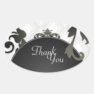 Thank You Seal - Black & White Damask Wedding Oval Sticker