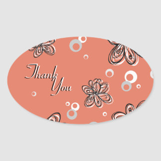Thank You Seal - Black & White Floral Wedding Oval Sticker
