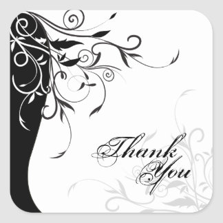 Thank You Seal - Black & White Floral Wedding Square Sticker