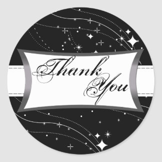 Thank You Seal - Black & White Stars Wedding Round Sticker