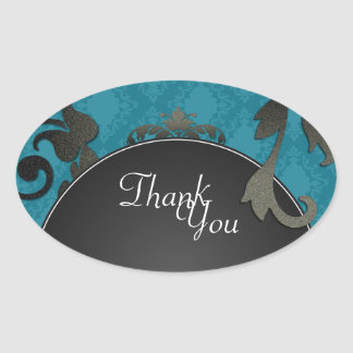 Thank You Seal - Blue Black & White Damask Wedding Oval Sticker