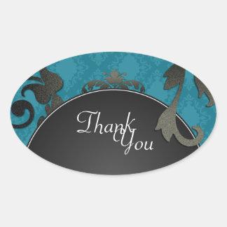 Thank You Seal - Blue Black & White Damask Wedding Oval Sticker