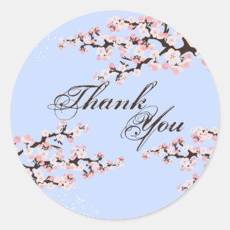 Thank You Seal - Blue Cherry Blossom Wedding Round Sticker