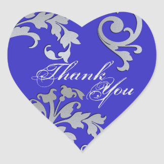 Thank You Seal - Blue & Silver Floral Wedding Heart Sticker