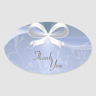 Thank You Seal Blue White Floral Ribbon Wedding Oval Sticker
