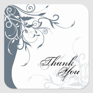 Thank You Seal - Blue & White Floral Wedding Square Sticker