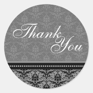 Thank You Seal - Charcoal Grey Damask Wedding Round Sticker