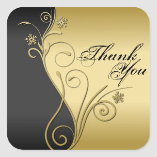 Thank You Seal - Classy Black & Gold Wedding Square Sticker